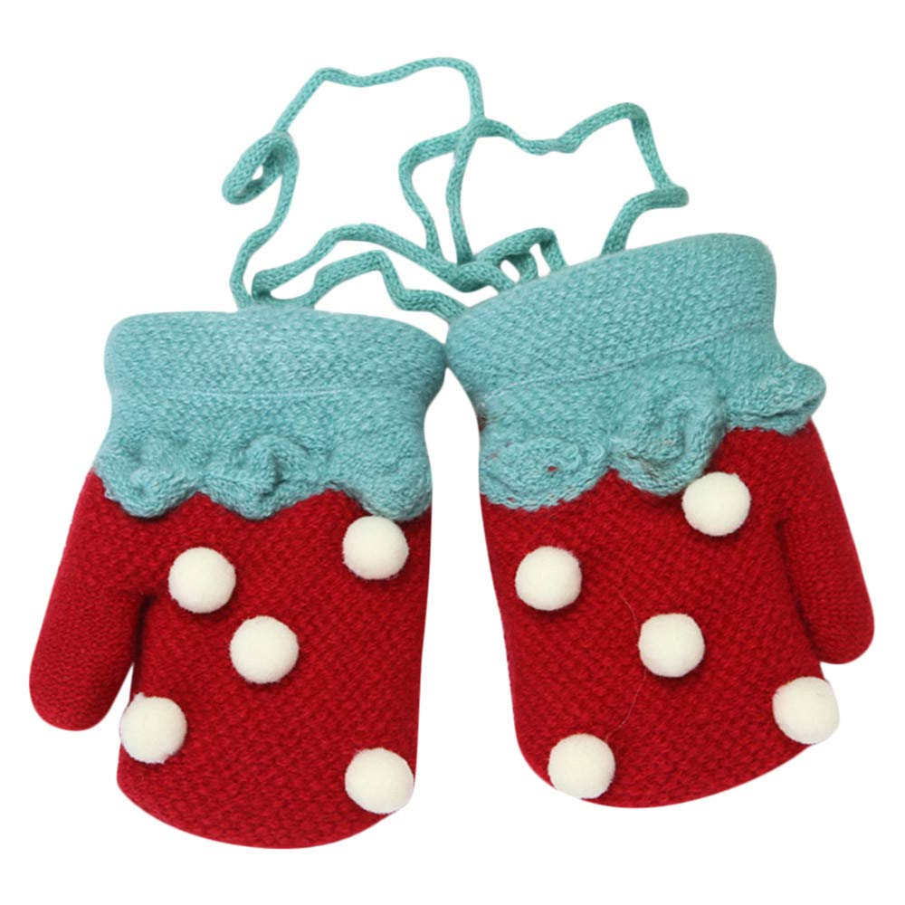 Baby Gloves,Zerototens Children Boys Girls Cute Dot Print Cute Twist Full Finger Warm Winter Child Gloves With Ropes Kids Knitted Mitten 0-3 Years Old