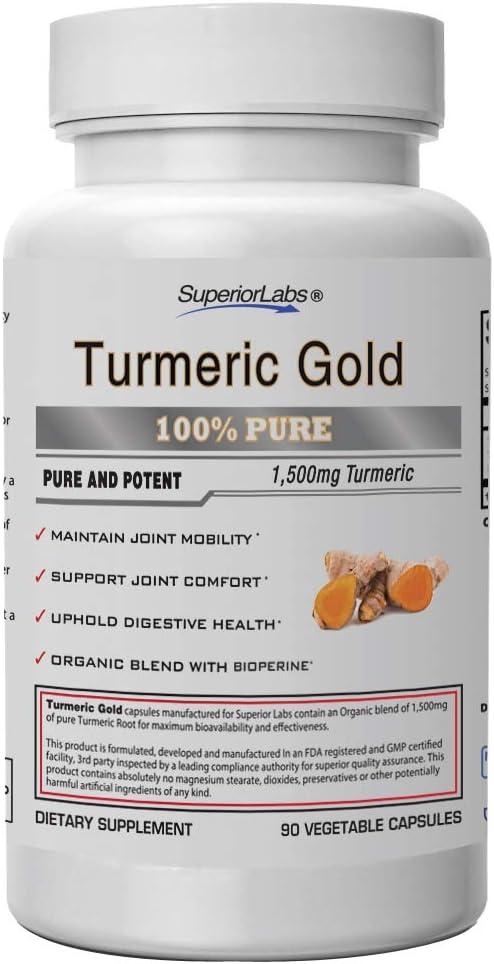 Superior Labs | Organic Turmeric Curcumin (95% curcuminoids) with BioPerine | Pure NonGMO 1500mg (Organic Blend) | Zero Synthetic Additives - Powerful Formula Joint, Knees, Hips, Immune,