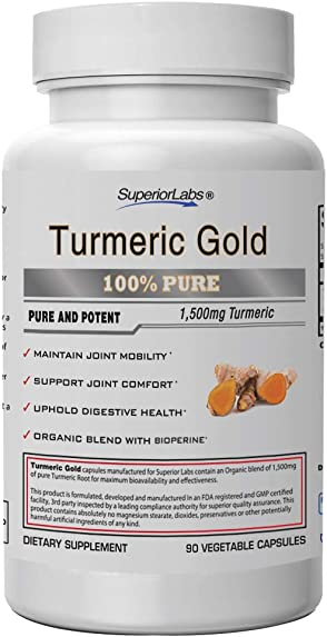Superior Labs Organic Turmeric Curcumin 95 curcuminoids with BioPerine Pure NonGMO 1500mg Organic Blend Zero Synthetic Additives – Powerful Formula Joint, Knees, Hips, Immune,