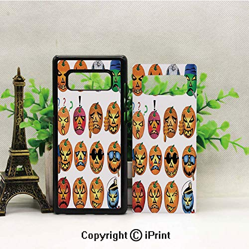 Cell Phone Case Compatible Samsung Galaxy Note 8,Carved Pumpkin with Emoji Faces Halloween Humor Hipster Monsters Art Heavy Duty Protection Shockproof Slim Fit Case Cover for Samsung Galaxy Note 8 (2 ()