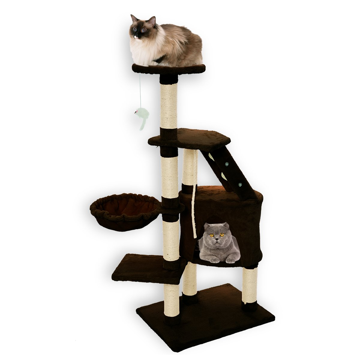 FirstWell Cat Trees - Kitty Condos Tower Furniture, Kitten Climb Stand, with Scratching Post, Natural Sisal Ropes, Hanging Toy, Perch, Nest, 47.25 Inches, Brown