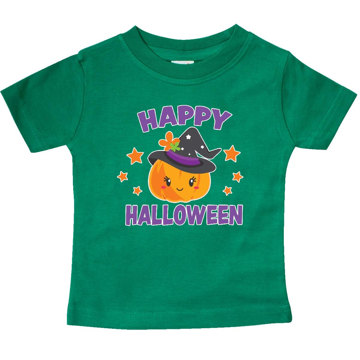 inktastic Happy Halloween Pumpkin with Witch Hat and Stars Baby T-Shirt