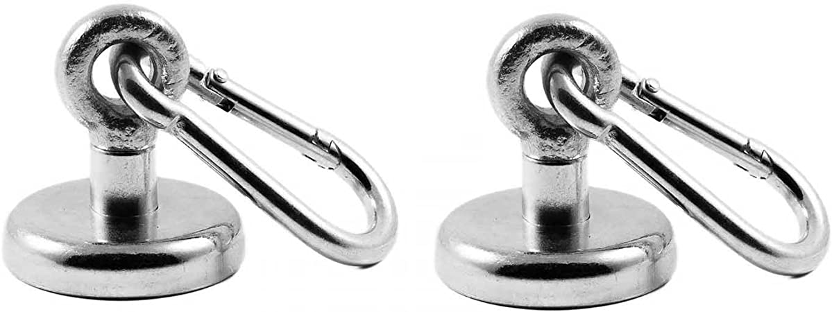 fuerza de retenci/ón 41 kilogramos extra fuerte magnetastico/® 2 pieza neodimio N35 /ösenmagnete con mosquet/ón 36 mm de di/ámetro