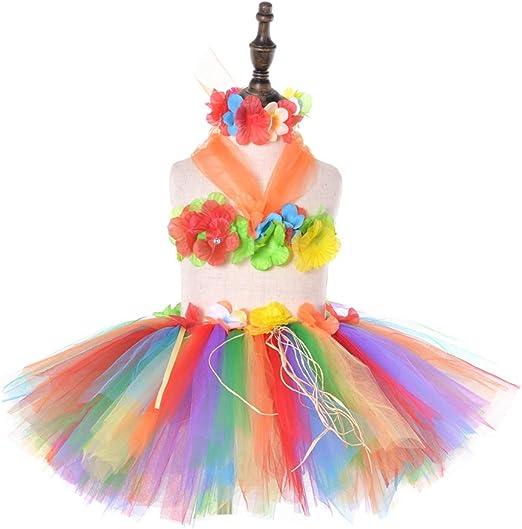 Amosfun Disfraz Hawaiana niña Tutu Falda Hula para niñas ...