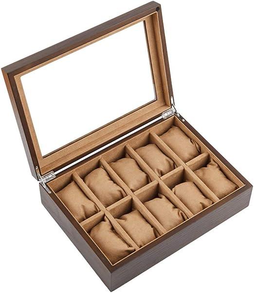 IKNZ - Caja organizadora de Madera con Tapa corredera de Cristal, Vitrina para Relojes, Expositor mecánico para Relojes de Pulsera, Colecciones de Pulseras, 10 Cinturones, Color marrón: Amazon.es: Hogar