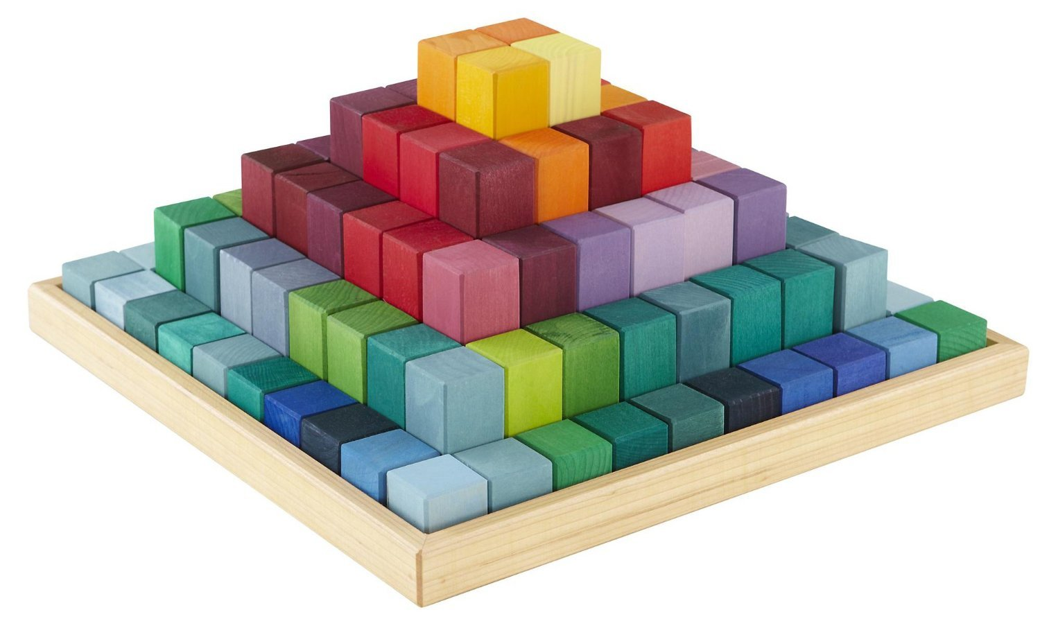 Grimm's Large Stepped Pyramid of Wooden Building Blocks, 100 Piece Learning Set (4x4 Size) by Grimm's Spiel and Holz Design (Image #3)