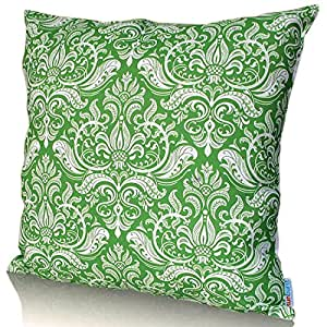"Sunburst Outdoor Living 18"" x 18"" (No Piping) CHANCE Green-White Decorative Throw Pillow Cushion Cover for Couch, Bed, Sofa or Patio - Only Case, No Insert"