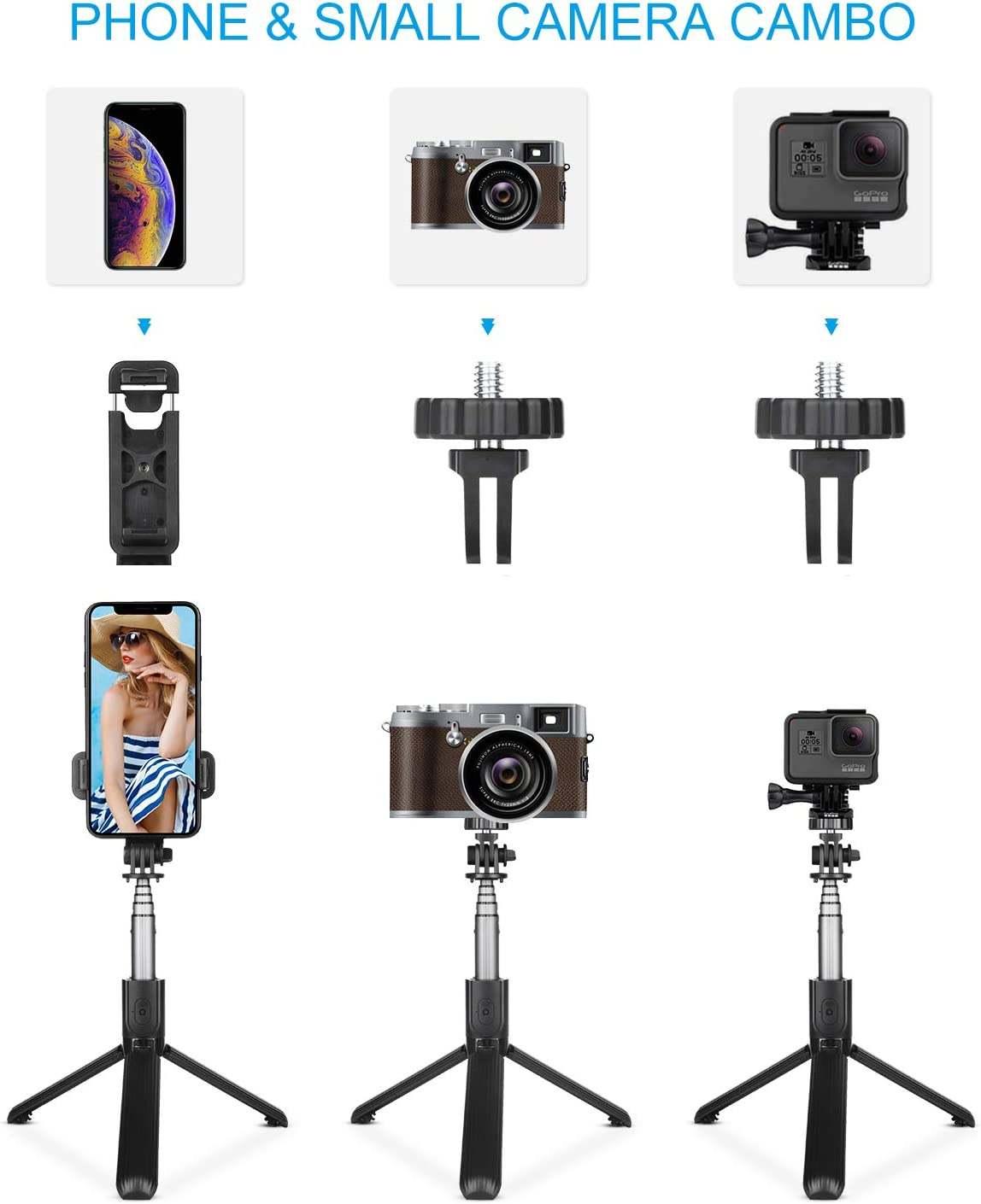 TVACHE Selfie Stick,Extendable Bluetooth Selfie Stick Tripod with Wireless Remote for iPhone 11// XS Max//XR//X//8//8 Plus//7//6s,Galaxy S10//S9//S8//S7,iOS Android Phone Holder,GoPro/&Small Camera Tripod Stand