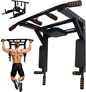 NAIZEA Multi-Gym Wall Mounted Chin-Up/Pull-Up Bar and Dip Station, Heavy Duty Doorway Trainer Supports to 600 Lbs, Power Tower Exercise Strength Training Equipment for Home Gym Workout