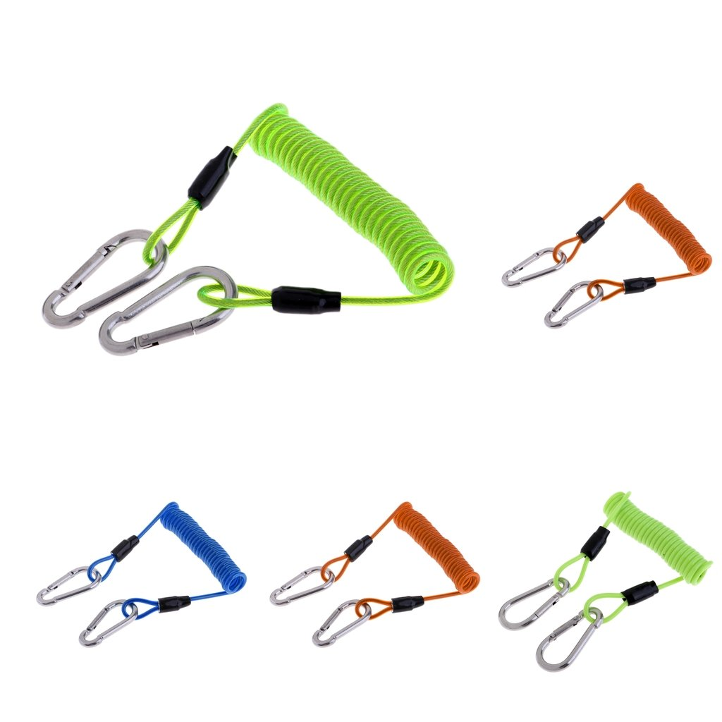 FLAMEER 8.5cm Lanyard Spring Coil with Carabinas Safety Emergency Gear Tool for Cave Dive