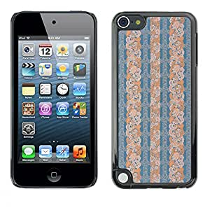 MOBMART Carcasa Funda Case Cover Armor Shell PARA Apple iPod Touch 5 - Half Patterned Blue Floral Piece