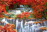 AOFOTO 8x6ft Falls Backdrop Cascades Photography Background Waterfall Nature Landscape Travel Adult Man Artistic Portrait Autumn Red Leaves Scenic Photo Shoot Studio Props Video Drop Wallpaper Drape