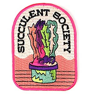 Retro Embroidered Iron-on Backing Patches (Succulent Society)