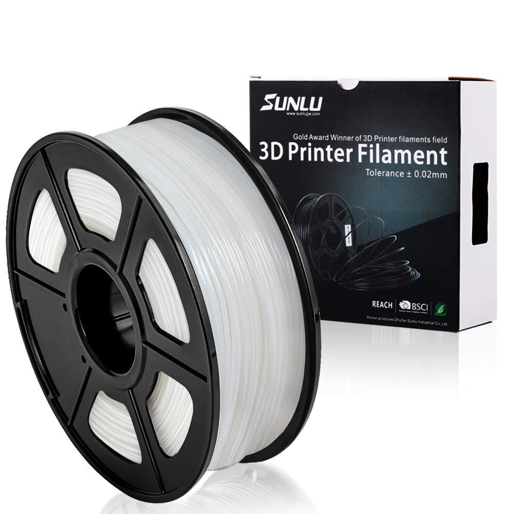 SUNLU 3D Printer Filament PLA+ White(more like transparent), 1.75 mm, Low Odor Dimensional Accuracy +/- 0.02 mm, 2.2 LBS (1KG) Spool, White(more like transparent)