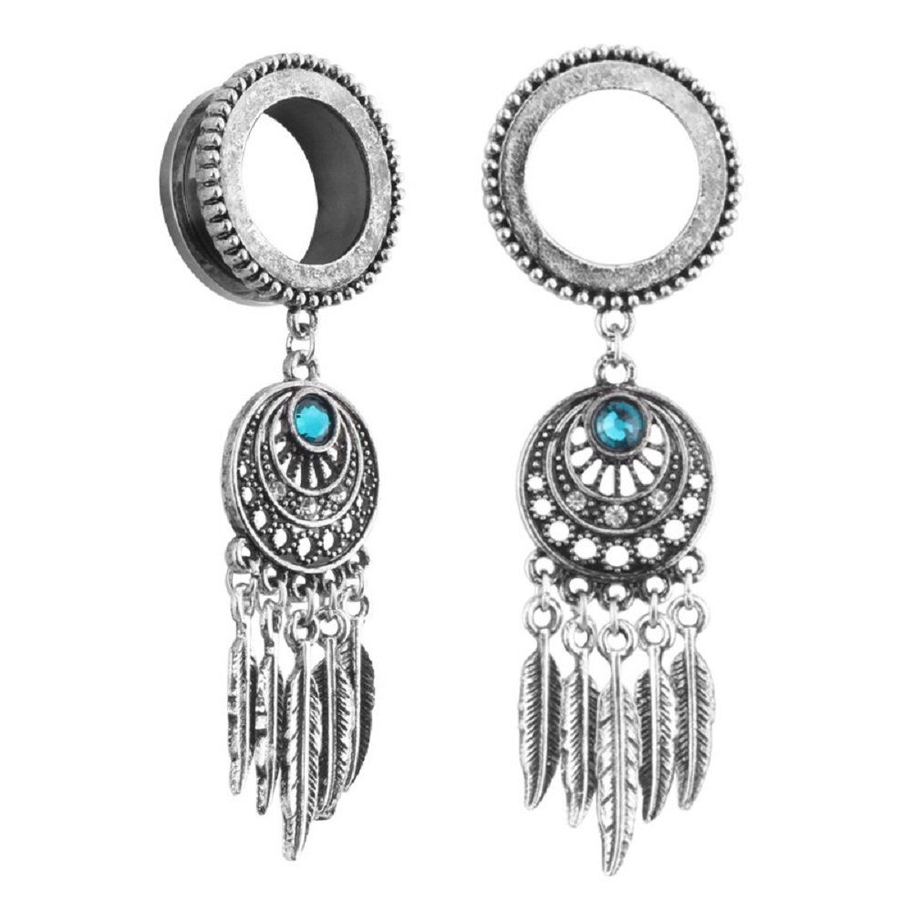New Crystal Ear Gauges Tunnel Dangle Plugs Expander Stretcher Screw Piercings Earrings Stainless Steel CZ Double Flared Feather Body Jewelry Merryshine