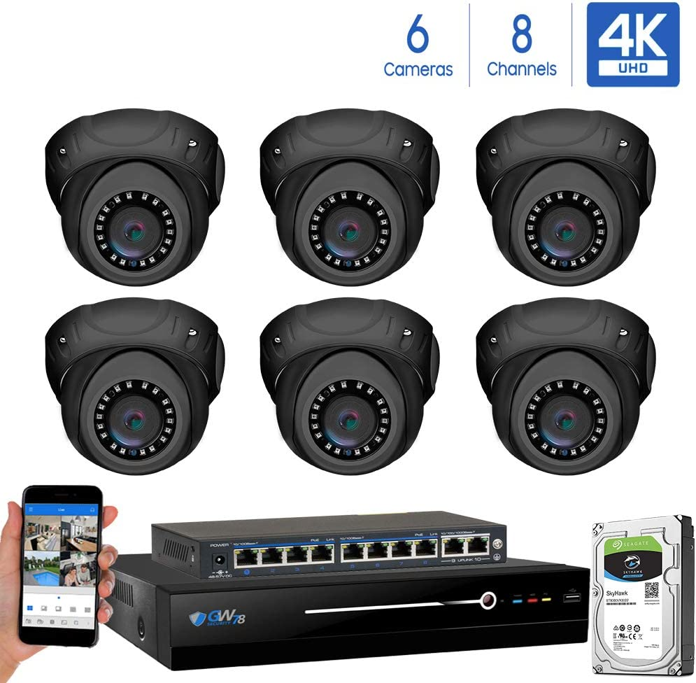 GW Security 8 Channel 4K NVR 8MP IP Camera Network PoE H.265 Surveillance System with 6-Piece Ultra HD 4K 2160P Weatherproof Outdoor Indoor Dome Security Cameras – Grey