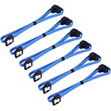 6 Pack 18 Inch SATA III 6.0 Gbps Cable with Locking Latch and 90-Degree Plug, Blue