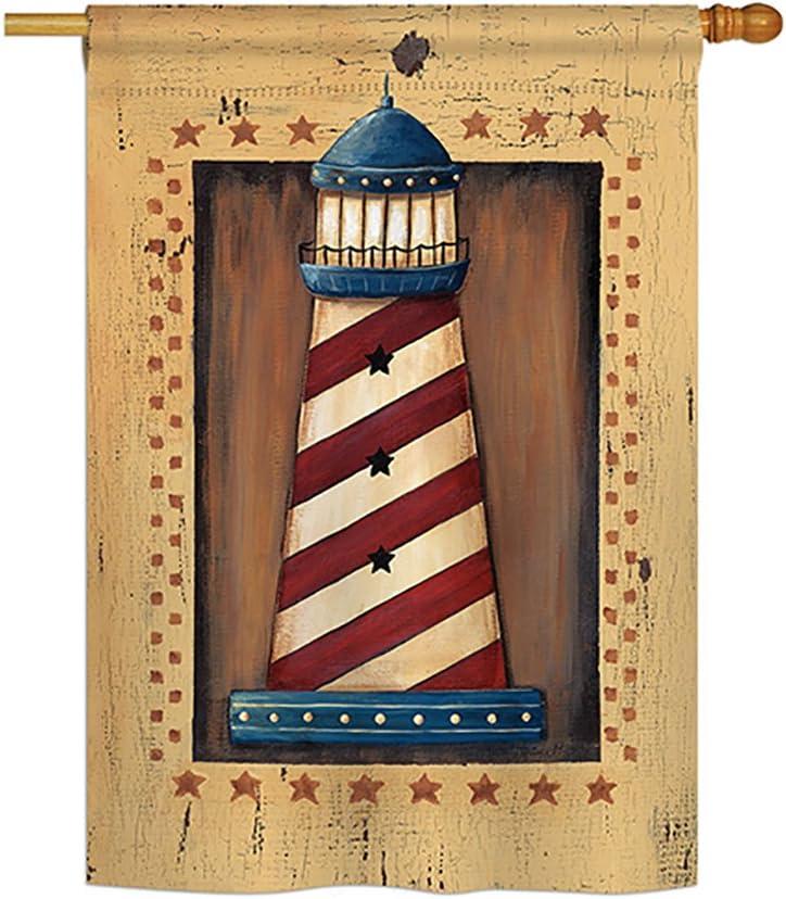 "Breeze Decor H107056 Patriotic Lighthouse Decorative Vertical Garden Flag, 28"" x 40"", Multicolor"