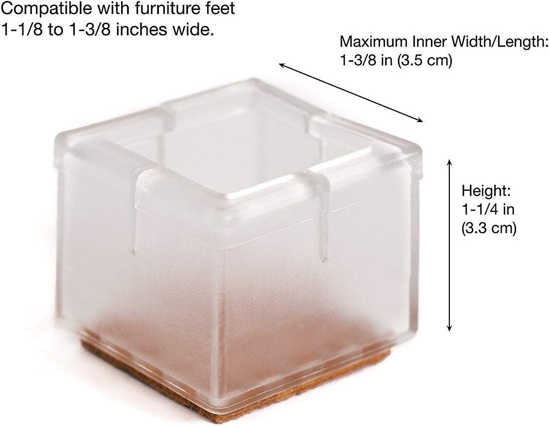 TEKEFT 20 Packs Clear Plastic Chair Socks Floor Protector Furniture Slider Pads for 1-1//4/×1-7//8/'/'