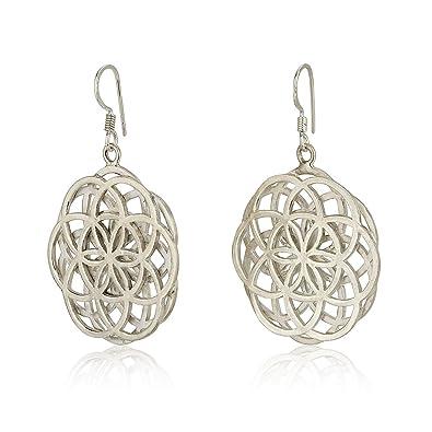 Amazon.com: Double Seed Of Life Dangle Earrings Sterling ...