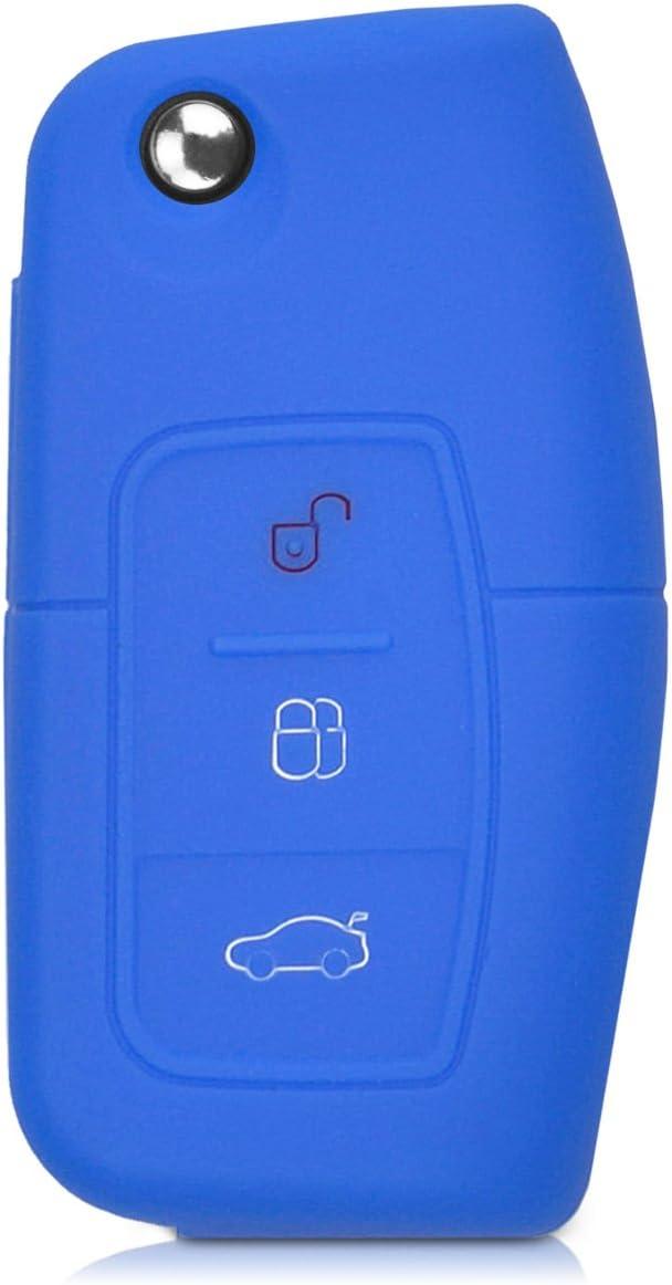 kwmobile Accessoire cl/é de Voiture pour Ford /Étui de Protection Souple Coque pour Clef de Voiture Ford Pliable 3-Bouton en Silicone Bleu