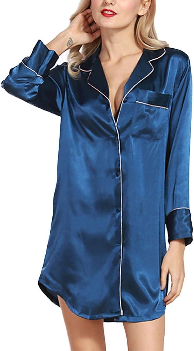 Deylaying Señoras Seda Mangas largas Ropa de Dormir Pijama Botón Turndown Collar Camisa del sueño Vestido Estilo Novio Blusa Top más el tamaño Loose Nightshirt para Mujer: Amazon.es: Ropa y accesorios