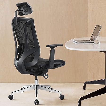 ANGEL QUEEN Chaise de Bureau Ergonomique à Dossier Haut avec Filet Respirant et accoudoirs réglables en 3D, Hauteur du Fauteuil d'ordinateur et