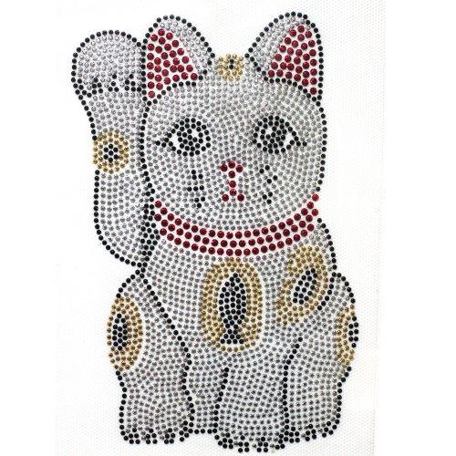 (Rhinestone Transfer Hot Fix T-shirt Clothing Crafts Cushion Lucky Cat Design 1 Sheet 4.1* 6.8 Inch)