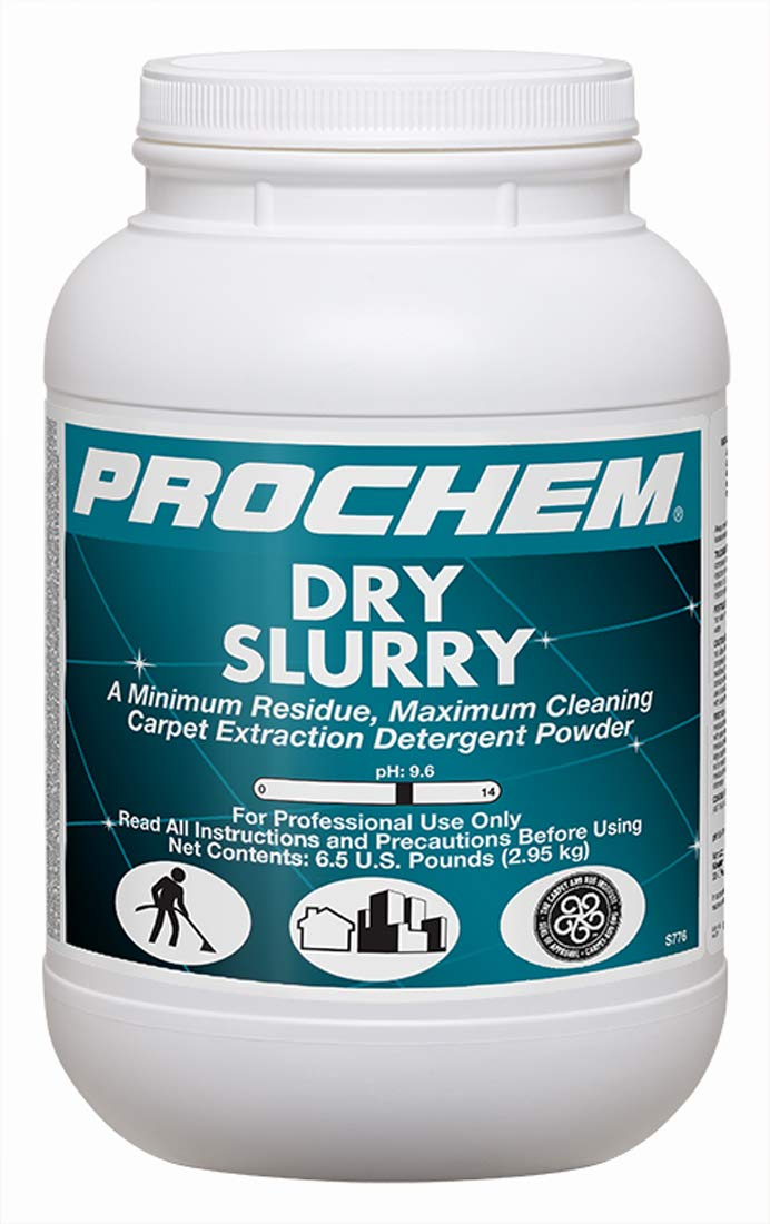 Prochem Dry Slurry Professional Carpet Cleaning Concentrate (Powder), Maximum Cleaning, Minimum Residue, Truckmount or Portable Extraction 6 lb Jar, 4 Pk