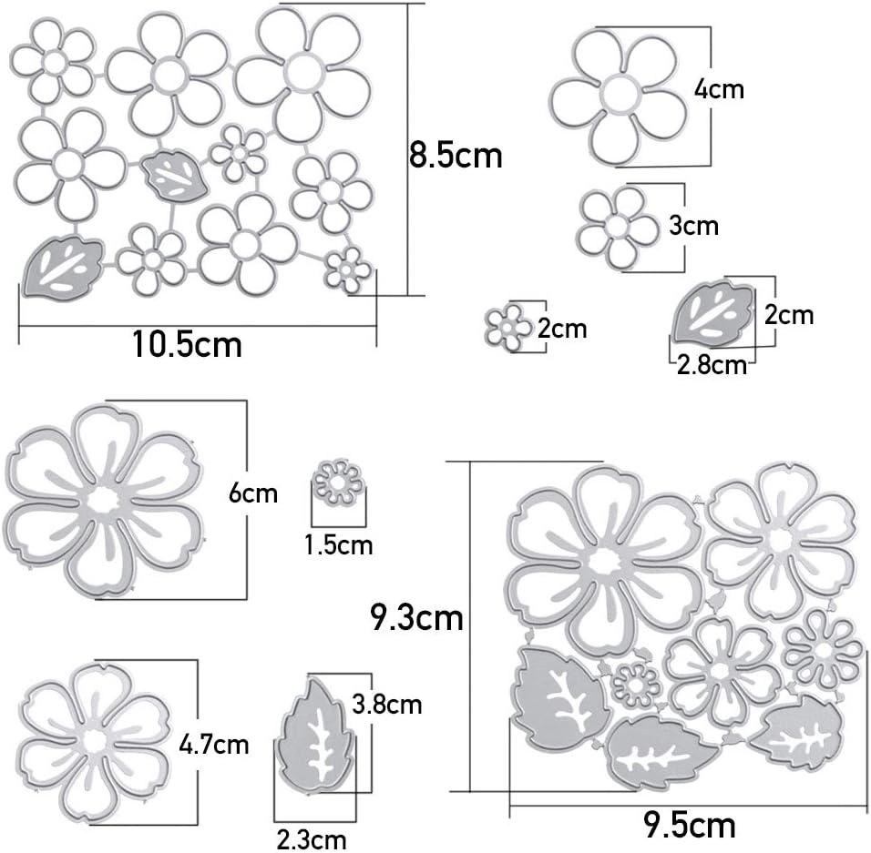 VINFUTUR 2pcs Scrapbooking Dies Matrices de D/écoupe en Forme de Fleurs pour Albums Photo F/ête Cadeaux danniversaire