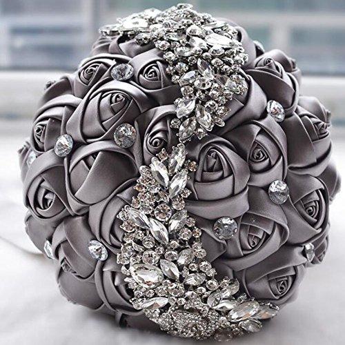 Ziye Shop Handmade Romantic Diamond Pearl Rhinestone Brooch Bridal Artificial Wedding Bouquet of Flower (Grey)