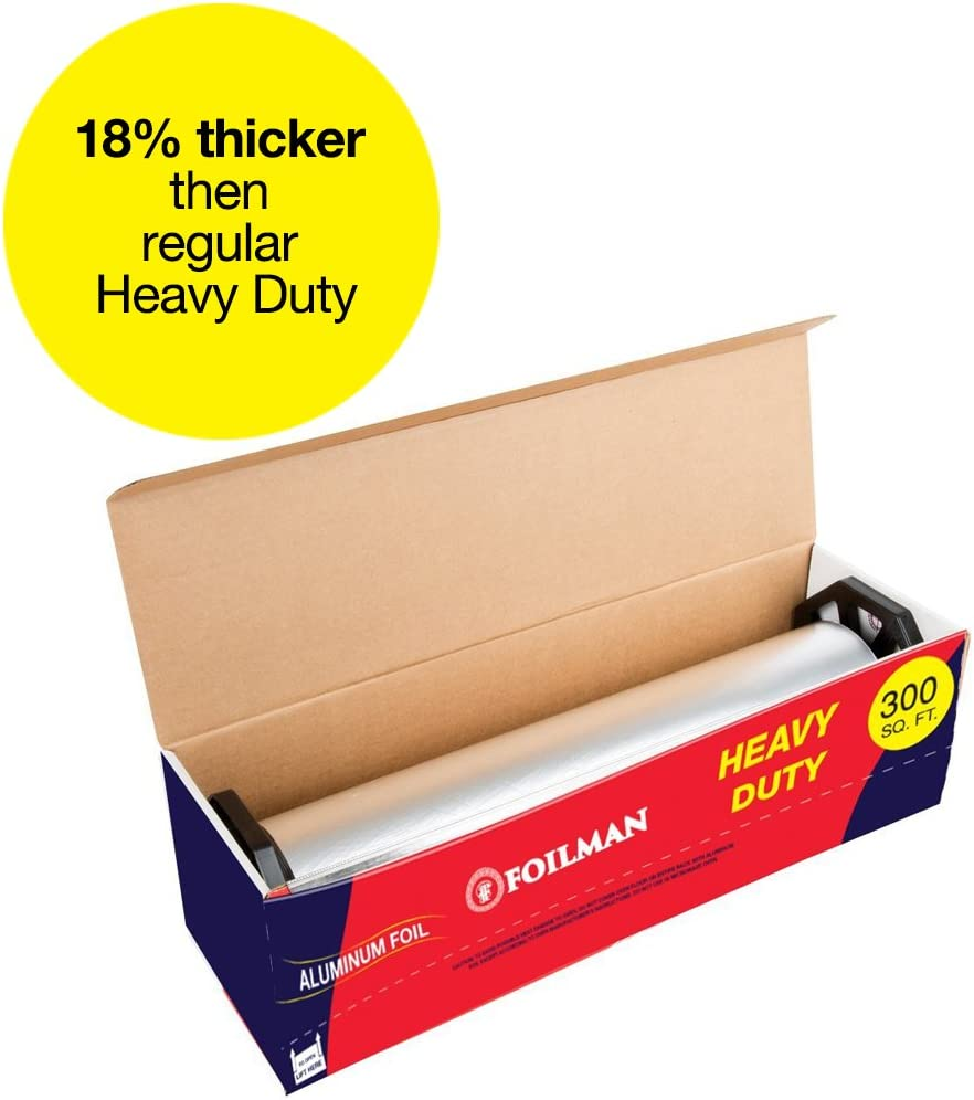 "Ultra-Thick Heavy Duty Household Aluminum Foil Roll (12"" x 300 Square Foot Roll) with Sturdy Corrugated Cutter Box - Heavy Duty Food Safe Foil Wrap - Best Kitchen Wraps & Baking need"