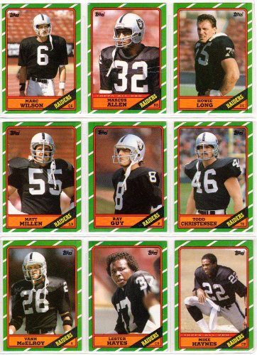 Los Angeles Raiders 1986 Topps Football Team Set (17 Cards) (Marcus Allen) (Todd Christensen) (Marc Wilson) (Matt Millen) (Ray Guy) and More (Oakland)