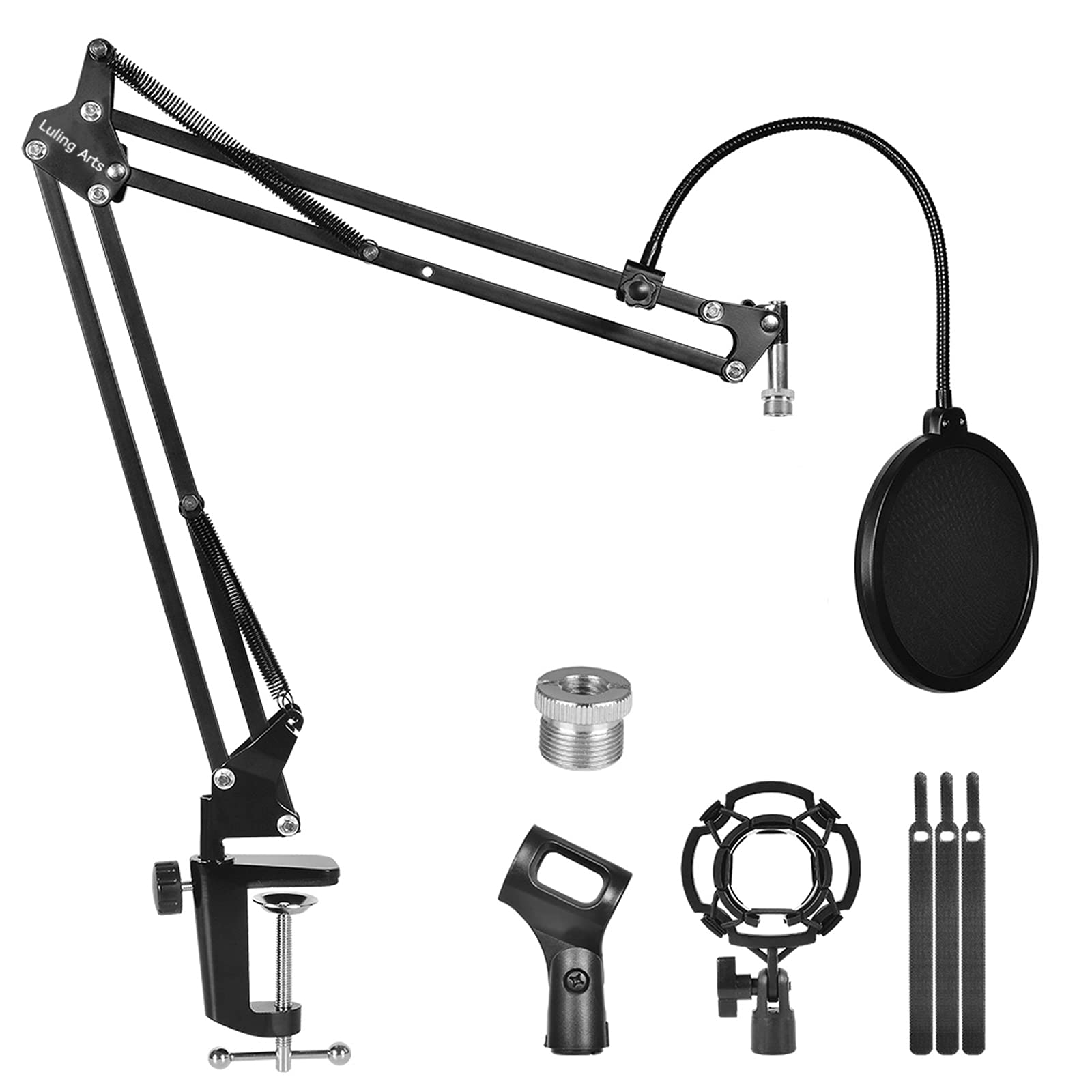Microphone Stand for Blue Yeti with Mic Windscreen and Double layered screen Pop Filter Heavy Duty Boom Scissor Arm Stands,Broadcasting and Recording