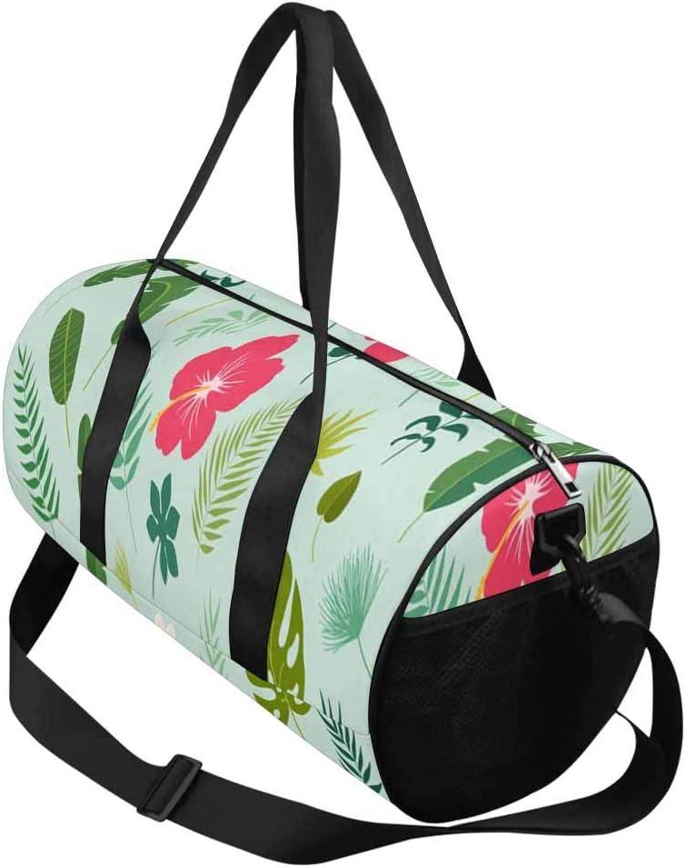 Sports Lightweight Luggage Duffel INTERESTPRINT Leaves Palm Banana Leaf Hibiscus Travel Duffle Bag