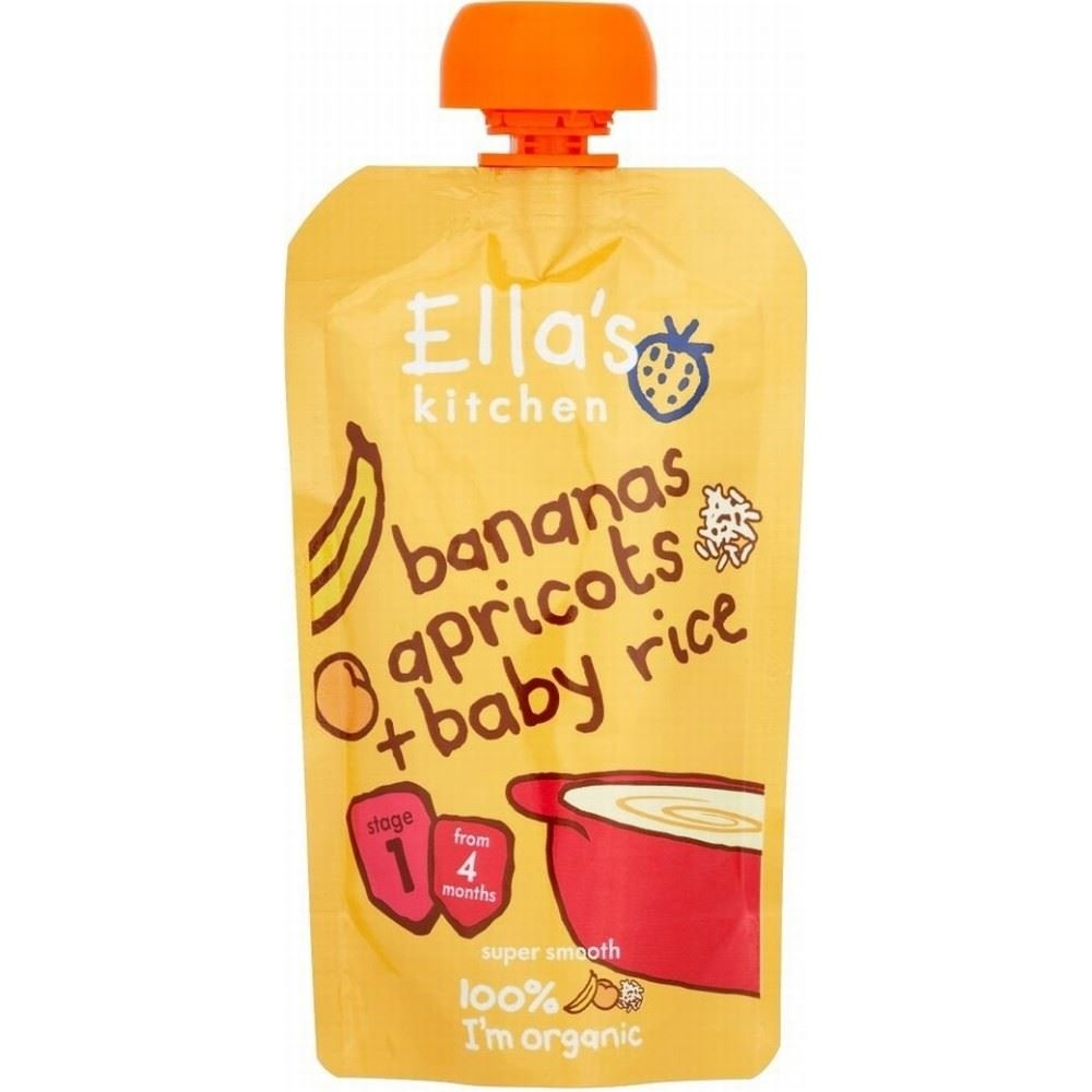 Ella's Kitchen Organic Bananas, Apricots & Baby Rice 4mth+ (120g) Grocery