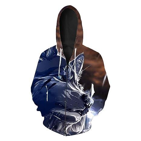 GMYANWY Otoño Nueva Cabeza de Lobo impresión de los Hombres Chaqueta de  Punto suéter con Capucha 9fea2e41cebad