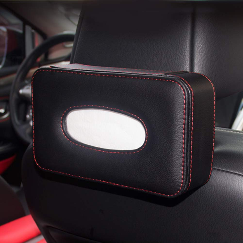 Queentres Car Tissue Box Holder Multifunctional Car Seat Back Headrest Hanging Leather Tissue Case Organizer Box