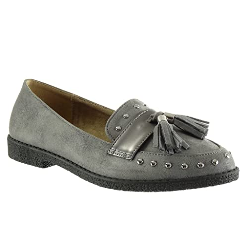 Angkorly - Zapatillas de Moda Mocasines Slip-on Mujer Tachonado Fleco Tanga Talón Tacón Ancho 2 CM: Amazon.es: Zapatos y complementos