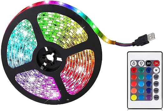 YYID LED Strip Lights, RGB Color Changing LED Lights for Home, Kitchen, Room, Bedroom, Dorm Room, Bar, with IR Remote Control, 5050 LEDs, DIY Mode -(0.5/2/5 M)
