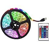 Fita de LED 5050 RGB que muda de cor sob armário iluminação de cozinha, 0,5 m 2 m 5 m RGB regulável TV luz traseira com contr