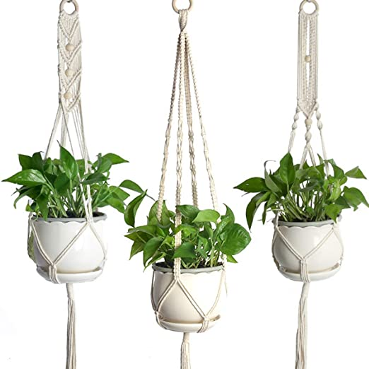 SOONHUA Macramé Macramé, colgador de interior para plantas, maceta para hogar, jardín, oficina, paquete de 3, blanco: Amazon.es: Jardín