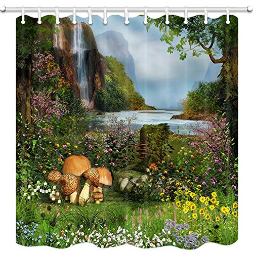 - DYNH Fantasy House Shower Curtain, Waterfall Flowers and Mushroom Grassland in Jungle Trees Moss Eden Bath Curtains, 3D Fabric Bathroom Accessories 12PCS Shower Hooks, 69X70 Inches