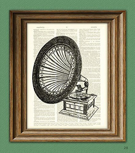 antique-gramophone-old-record-player-print-over-an-upcycled-vintage-dictionary-page-book-art