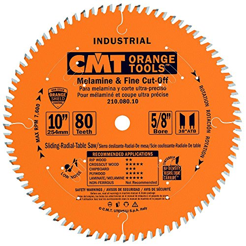 CMT 210.080.10 Industrial Fine Cut-Off Saw Blade, 10-Inch x 80 Teeth 38° ATB Grind with 5/8-Inch Bore, PTFE Coating