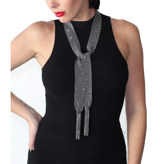 JCM Londres negro rodio Malla de seda Wrap corbata bufanda collar ...