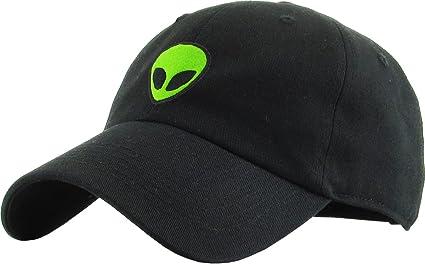 Amazon.com  KBSV-028 BLK Alien Dad Hat Baseball Cap Polo Style ... 56016874dde2