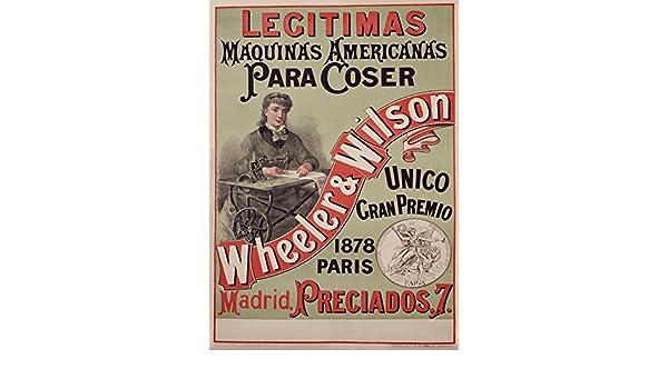 Vintage ropa y accesorios Wheeler y Wilson máquinas de coser de Madrid, España, 1878, 250 gsm brillante Art Tarjeta A3 reproducción de póster: Amazon.es: ...