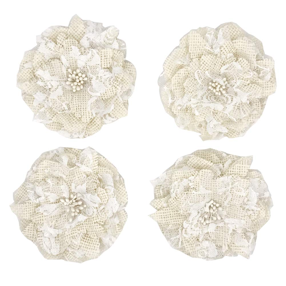 APICCRED 12pcs Hessian Jute Burlap Rose Flower for Wedding Decoration Party DIY Gift Packing Accessories Rosette Embellishments (item4) AIYAO