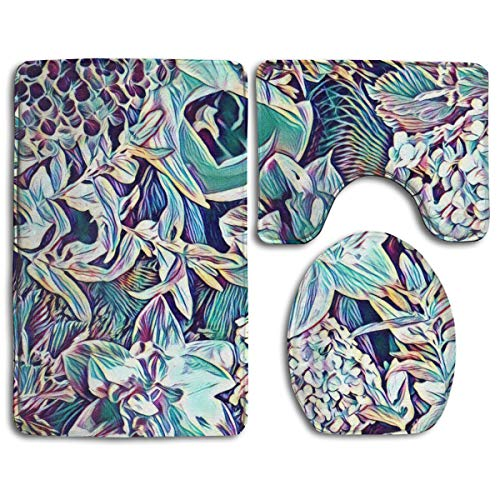 Hucuery Customized Garden Flower Collage Fashion Bathroom Carpet Cushion Set 3 Anti-Skid Cushion Bath Cushion + Contour + Toilet Cover from Hucuery